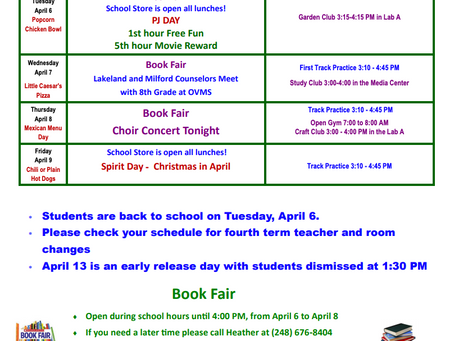 OVMS Weekly Events April 5-9