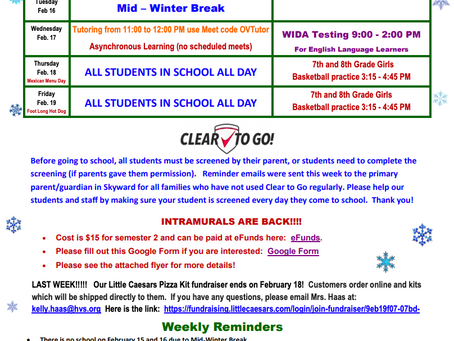 OVMS Weekly Events, Feb 15-19