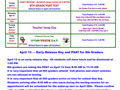 OVMS Weekly Events April 12-16