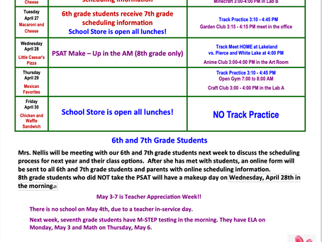 OVMS Weekly Updates April 26 - 30