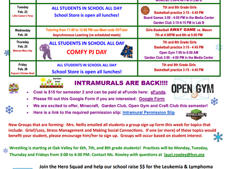 OVMS Weekly Events, Feb 22-26