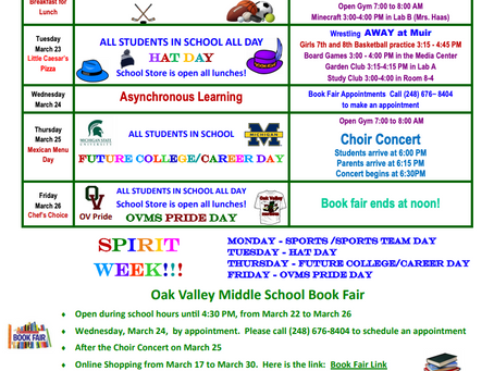 OVMS Weekly Events Mar 22-26