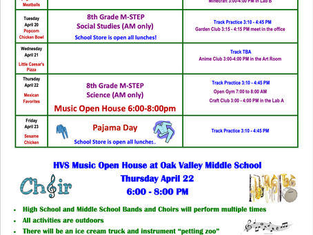 OVMS Weekly Events April 19 - 23
