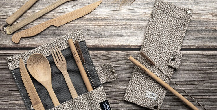 Jungle Culture Bamboo Cutlery Set in Stormy Ash