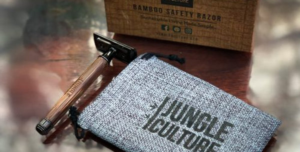 Reusable Bamboo Safety Razor & Natural Jute Travel Pouch 1% For the planet