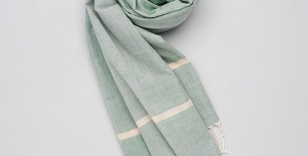 Soft Handwoven Cotton Scarf - Green/ Stripe. Supporting the Mangtha Project