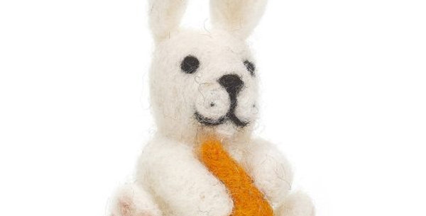 Handmade Bunny with Carrot Hanging Felt Easter Decoration