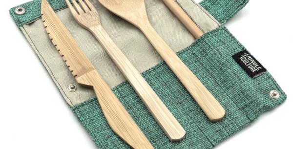 Reusable Bamboo Cutlery Set in Marine green bag – Handmade
