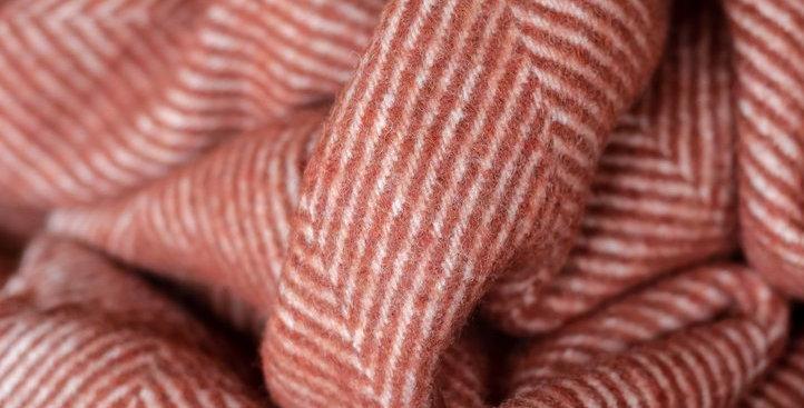 Recycled Wool Knee Blanket in Rust Herringbone