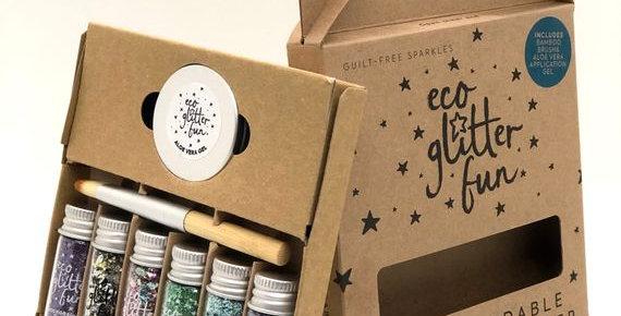 Eco Glitter Fun Sparkle 6pcs Festival Blends Box Kit - Brush and Aloe Gel Incl.