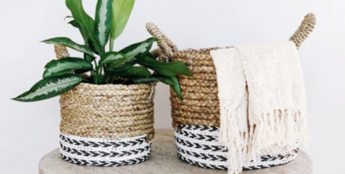 Melia Basket Set White - Made from Banana Leaf and Recycled Materials