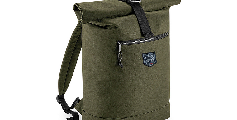 Recycled Roll Top Backpack - Red / Green