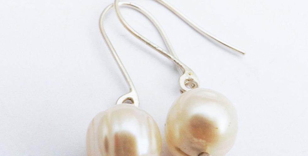 Eco Silver Freshwater Pearl Drop Earrings