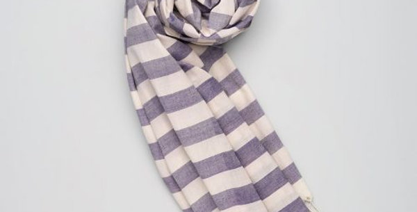 Soft Handwoven Cotton Scarf - Blue/White Stripes. Supporting the Mangtha Project