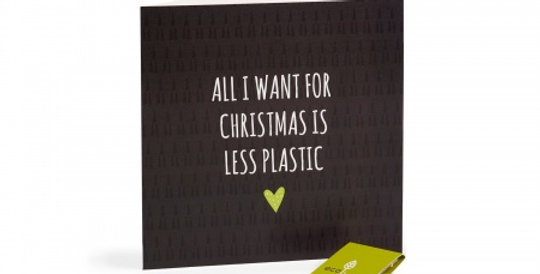 Recycled Christmas Cards - All I want for Christmas is Less Plastic (FSC 100%)