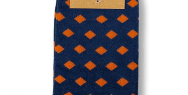 Orange Diamonds Bamboo Socks - Bamboo and recycled plastic