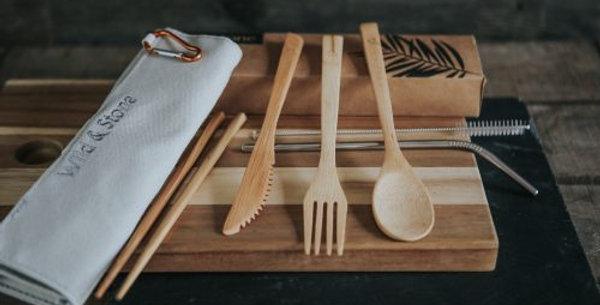 Reusable Bamboo Picnic Cutlery Set – 8 Piece