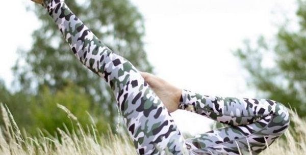 Camo Print Eco Friendly Yoga Pants - Made from Recycled Plastic