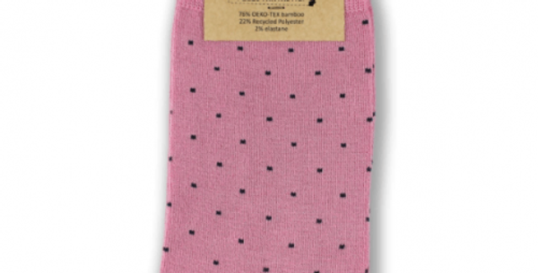 Pink Dots Bamboo Socks - Bamboo and recycled plastic