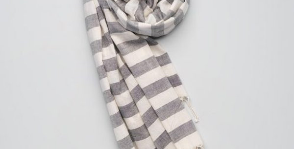 Soft Handwoven Cotton Scarf - Grey/White Stripes. Supporting the Mangtha Project