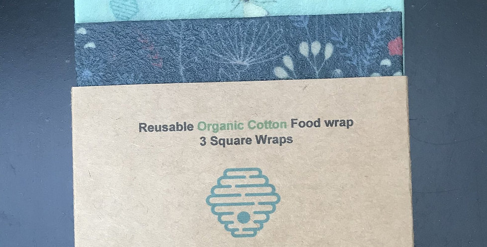 Bees Wax Wrap Organic Cotton- All rounder 3 Assorted Square Wraps