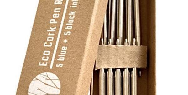 Eco Cork Pen Refill Pack of 10 ( 5 Black + 5 Blue)