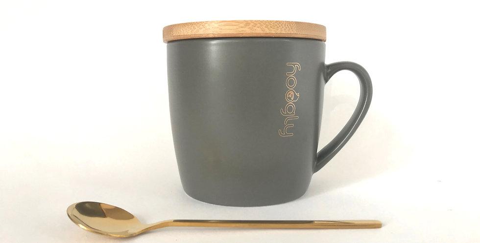 Hoogly Mug coaster and Spoon Red/Grey