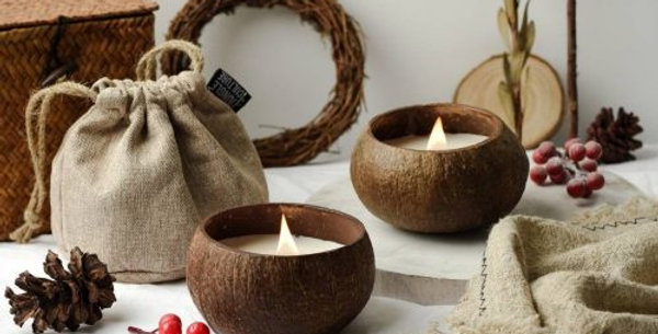 Handmade Coconut Shell Candle - Coconut Scented in Reclaimed Coconut Shell