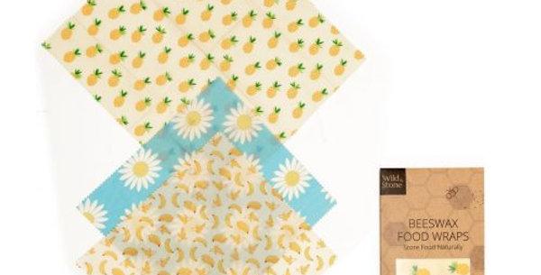 Beeswax Food Wraps – Fruit Pattern – 3 Pack (2x Medium, 1x Large)