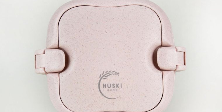 Stylish Rice Husk Lunch Box - Duck Egg/Rose
