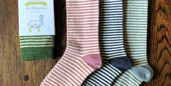 Ladies Stripey Alpaca Socks - One Pair