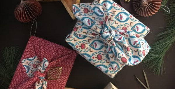 FabRap Double Sided Large Teal & Cherry Wrap