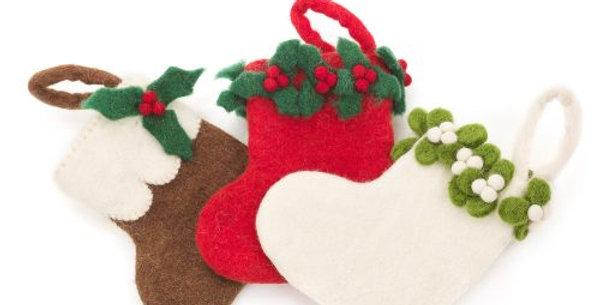 Handmade Felt Biodegradable Mini Christmas Stocking Hanging Decoration
