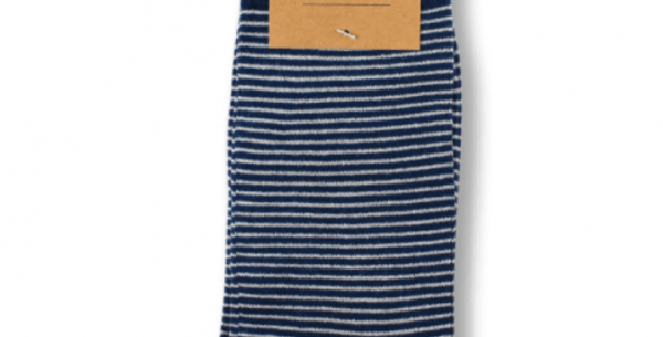 Stripy Navy Bamboo Socks - Bamboo and recycled plastic