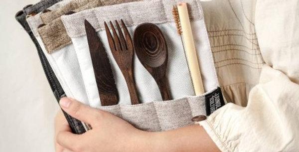 Reclaimed Handmade Dark Wood Cutlery Set – DARK GREY BAG