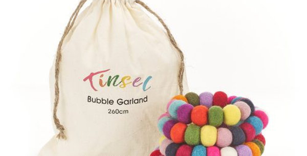 Handmade Biodegradable Felt Tinsel Bubble Garland Christmas Tree Decoration