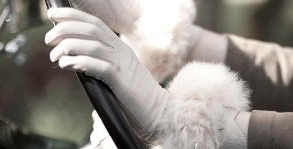 Cruelty Free. Alpaca Fur Cuffs - Oyster / Black
