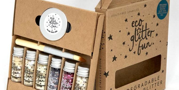 Eco Glitter Fun Pure 6pcs Heaven Box Kit - Brush and Aloe Gel Incl.