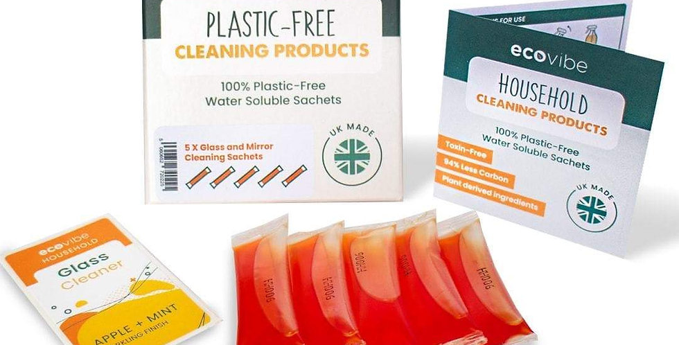 Plastic-Free Soluble Glass & Mirror Cleaner (5 Pack)