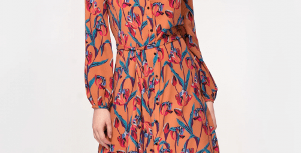 Acacia Dress In Ochre Tulip Print. Plant Based Material