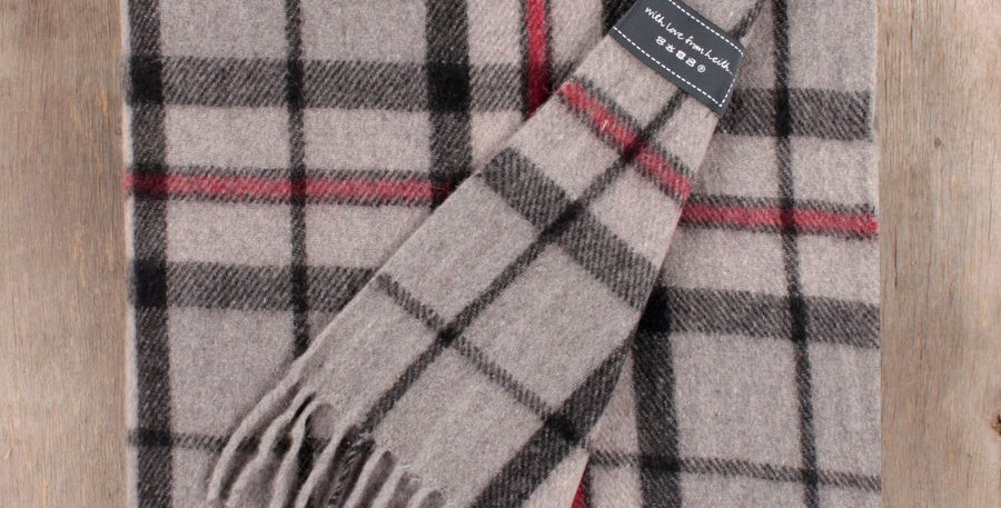 Recycled Wool Blanket in Thomson Grey Tartan