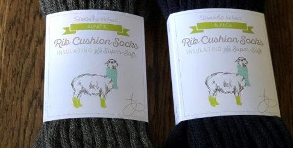 Alpaca Rib Cushion Unisex Socks - Charcoal