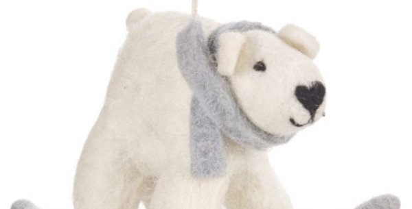 Handmade Felt Polar Bear on Ice Biodegradable Hanging Decoration