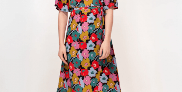 Rosa Dress in Cut Out Floral Print. Plant Based Material - Tall