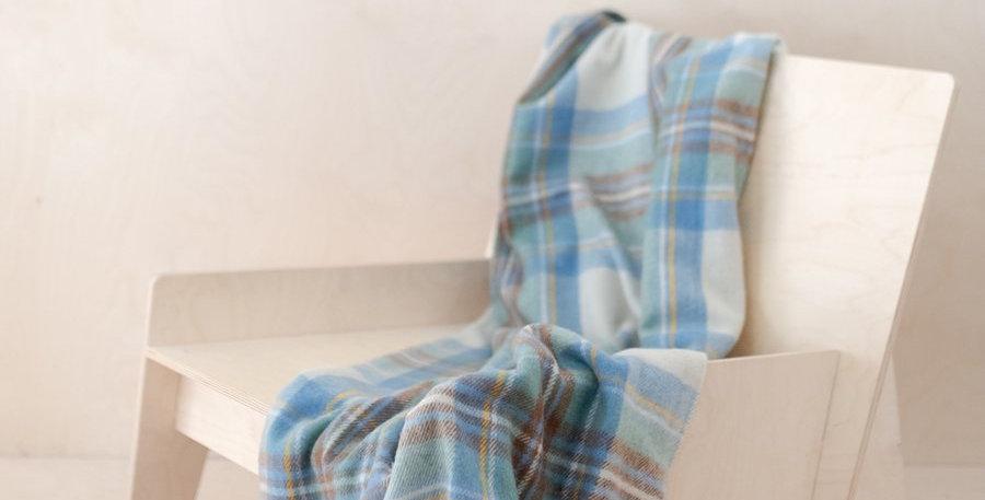 Recycled Wool Knee Blanket in Stewart Muted Blue Tartan