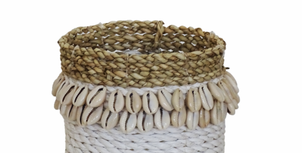 The Cowrie Shell Basket White - Recycled Materials