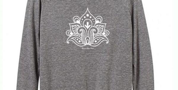 Slouchy Lotus Flower Long Sleeve Top – Grey