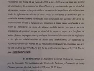 """Comunicado Oficial"" Centro de Turismo y Comercio de Mina Calvero.           Asamblea Susp"