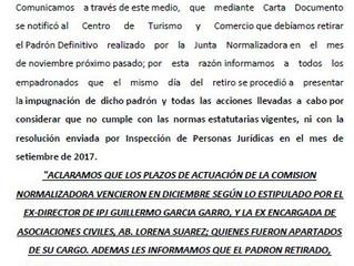 """""""Comunicado Oficial"""" Centro de Turismo y Comercio de Mina Clavero"""