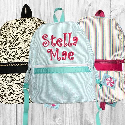 Large Seersucker Backpack